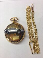 Saab EV1 ref236 Pewter Effect emblem gold quartz pocket watch
