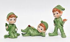 3 Lefton Shamrock St. Patricks Day Elf Leprechaun Sprite Pixie Figurines #2138