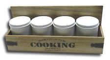 Holz Dosenregal Küchenregal Aufbewahrung Regal mit 4 Dosen Retro Vintage Design
