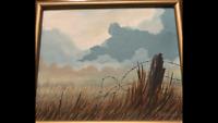 Charles Greenholdt original artwork western scene barbed wire framed signed
