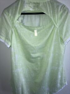 NWT Under Armor Woman Size XL T-shirt Open Back Green And White