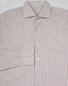 Kiton White w/ Brown/Pink Stripes Spread Collar Handmade Dress Shirt (43) 17-36