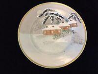 "Vintage Japanese Fuku Hand Painted Winter Scene Plate w/Gold Rim, 7 1/4"" Dia"