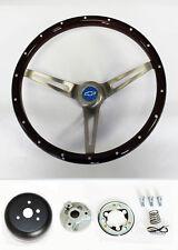 "Chevelle Nova Camaro Impala Wood Steering Wheel Rivets High Gloss 15"" Blue Cap"