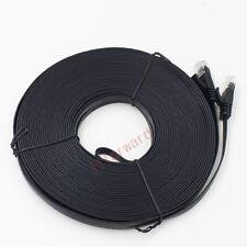 25M 82ft Cat 6 Flat RJ45 Ethernet Network Internet Lan DSL Router Cable Black