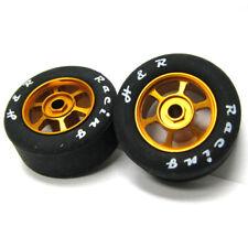 H&R Racing HR1359 6 Spoke 12mm Gold Wheel w/ Rubber Tire (2) 1:24 Slot Car