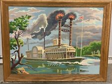 VIntage 50s Large PBN Steamboat Paddle Wheel Boat Paint By Number Painting