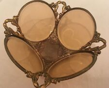 Lower Price! FREE SHIPPING! RARE! Glass and Metal (Brass?) Vintage Bowl