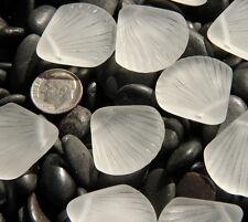 Large Shell Pendant Beads, Crystal White w/Sea Glass Finish, 29x27mm, 2 Pcs.