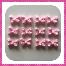 12 x Edible Minnie Mouse PINK  BOWS POLKA DOT cake Cupcake Toppers decoration