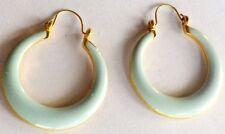 boucles d'oreilles bijou vintage percées créoles émaux bleu couleur or *69