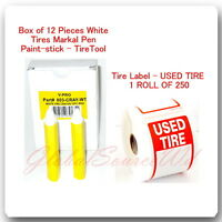 12 Pc White Tire Marker Pen Paint stick+Tire Label USED TIRE ROLL 250 Stickers