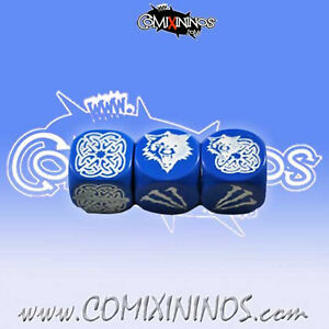 Fantasy Football - SET of 3 BLOCK DICE BLUE for Blood Bowl NORSE - Meiko
