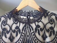 MARKS & SPENCER AUTOGRAPH BLACK GOLD LACE HIGH NECK DRESS - LONG SLEEVES SIZE 10