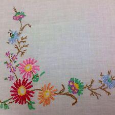 Colorata a mano vintage lino ricamati Tovaglia