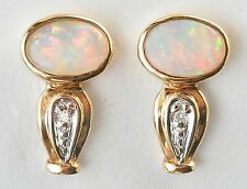 NATURAL WHITE OPAL DIAMOND EARRINGS 14K GOLD SOLID COOBER PEDY OPAL BOXED NEW
