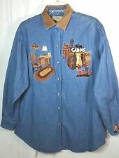 Denim Jean Shirt Size Medium Embroidered Country Cabin Fishing Country Legends