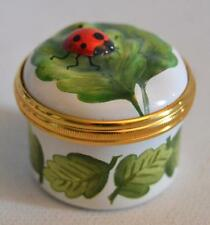 Halcyon Days English Enamels Ladybug and Leaves Trinket Box