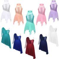 Girls Kids Lyrical Ballet Dance Dress Leotard Modern Jazz Shiny Skirts Dancewear
