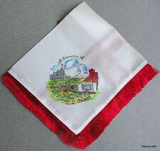 Handkerchief Satin Souvenir John O Groats Scotland Fringed Printed Scene Vintage