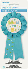 """BABY SHOWER PARTY SUPPLIES 6"""" (15cms) MUM TO BE BLUE BABY BOY ROSETTE RIBBON"""