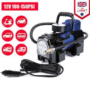 100-150PSI Portable Car Air Compressor Pump 12V Electric Inflator Heavy Duty UK