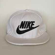 Classic Logo NIKE snap back flat cap baseball hat white black tick one size