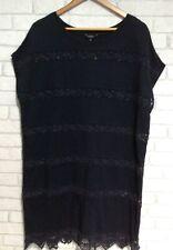 HOBBS Navy Jersey Tunic Dress With Crochet Detail,UK Size 14