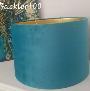 SLIGHT SECONDS Large Turquoise Blue LAMP SHADE velvet look gold inner