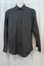 Alfani Mens Casual Shirt Sz S Kettle Grey Strped Button Down Business Shirt