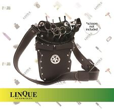 Iceman Silver Star Stud Scissor Pouch Black Leather Holds 7 Scissors