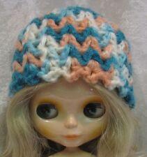 BLYTHE Doll Clothes HAT #27 Handmade Beanie Mint & Peach CAP