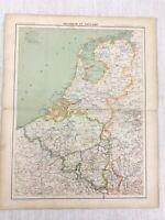 1898 Französisch Map Of Belgien Holland Die 19th Jahrhundert Antik Original