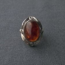 STERLING SILVER NATURAL OVAL BALTIC AMBER RING SIZE N   925 SOLID