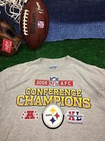 2005 AFC CONFERENCE CHAMPIONS PITTSBURGH STEELERS  large XL ? REEBOK shirt c23