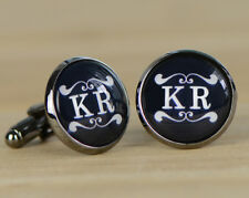 Personalized Monogram Cufflinks, Custom Wedding Cuff Links Gift Design #073