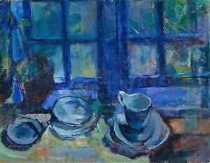 Painting Ludvig Karsten The Blue Kitchen Canvas Art Print