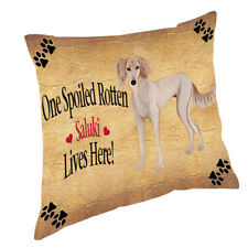 Saluki Puppy Spoiled Rotten Dog Throw Pillow 14x14