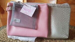 Makeup bag set Pink And Grey. Small Bags