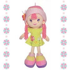 "18"" Fabric Cloth Rag Girl Doll Toy Dress Pink Hat w/ Yarn Hair Muñeca de Trapo"