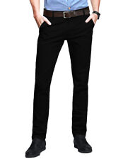 Mens Chino Trousers Slim Fit Stretch Casual Jeans Westace Cotton DESIGNER Pant Black 34 32