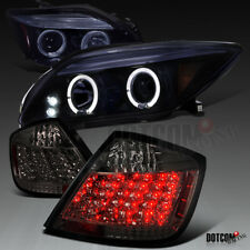2005-2010 Scion tC Glossy Black Halo Projector Headlights+Smoke LED Tail Lamps