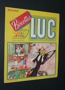 BUVARD 1960-1965 BISCOTTES LUC CHATEAUROUX FABLE LA FONTAINE PIE ET LA COLOMBE