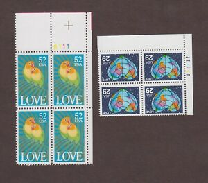 US,2535,2537,LOVE,PLATE BLOCKS,,MNH VF COLLECTION