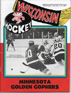 WISCONSIN BADGERS MINNESOTA GOLDEN GOPHERS HOCKEY PROGRAM 1983 JOHN JOHANNSON