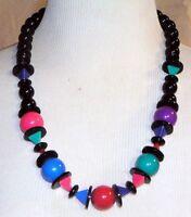 Lrg Vintage? Necklace Multi Color Beads Adlers? New Orleans Red Blue Purple