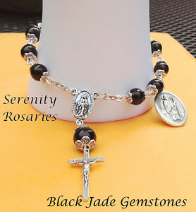 Rosary Bracelet Handmade in Black Jade Gemstones– Select your Favourite Saint