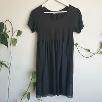 Mela Purdie Silk Viscose Black Dress/Tunic 8 XS Part-Sheer Babydoll Made in Aus