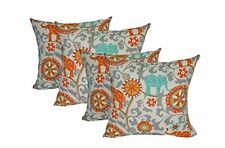 "Set of 4 - In/Outdoor Throw Pillows-Orange Teal Gray -Bohemian - 17"" x 17"""