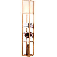 Maxwell Shelf Floor Lamp Modern Mood Lighting Living & Bedroom Natural Wood, New